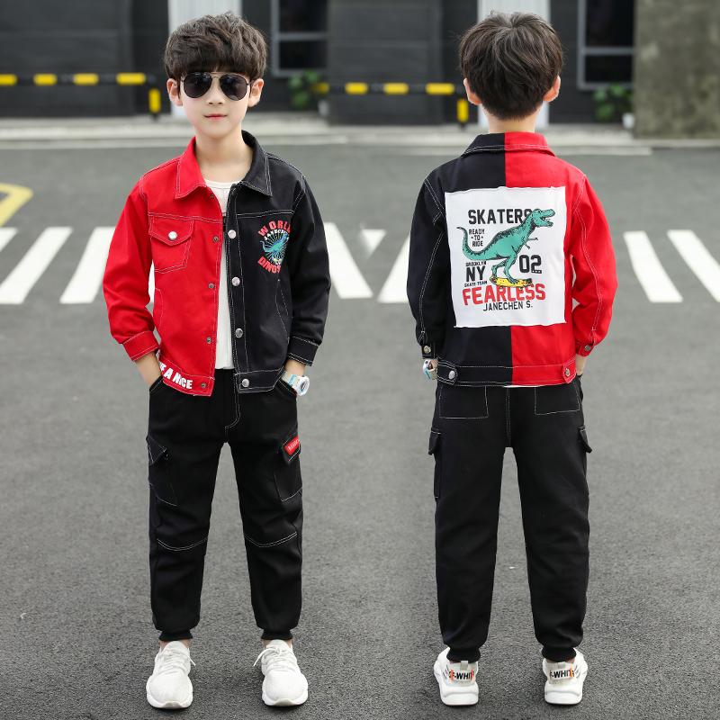 2019新款恐龙套装休闲潮衣男童秋季套装微商拿货一件代发整手批发