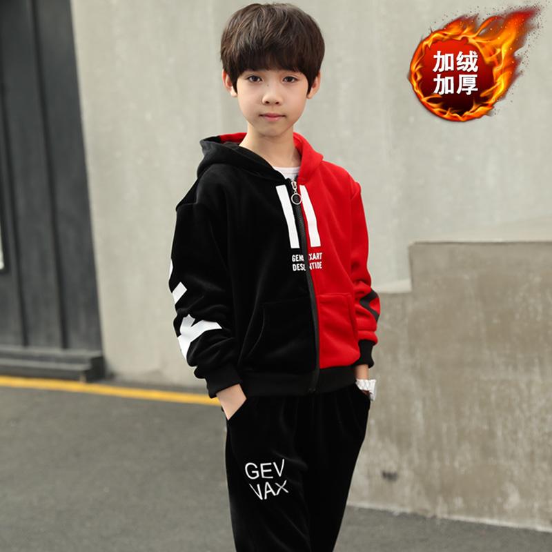 2019新款儿童韩版金丝绒加绒加厚童装两件套微商一件代发支持批发
