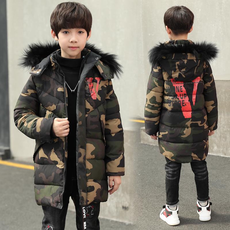 2019新款韩版童装中长款迷彩儿童加厚保暖棉衣微商拿货一件代发整手批发
