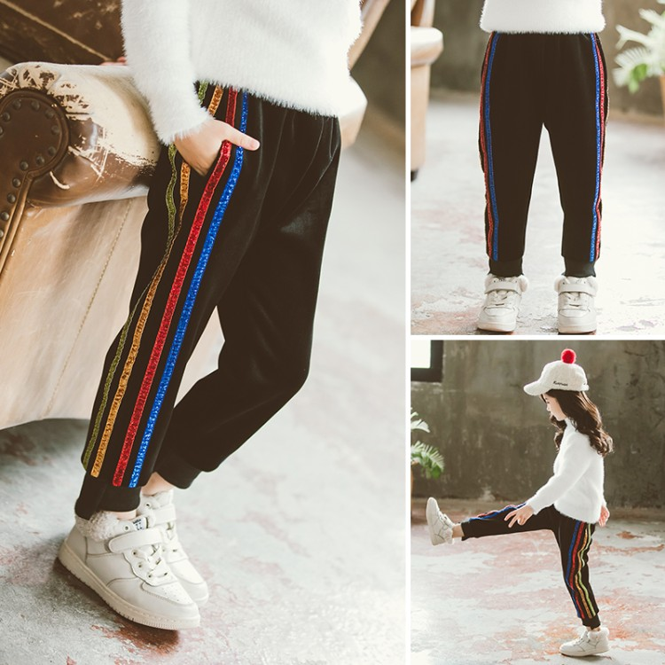 2019年新款韩版七彩双面绒裤织里童装批发厂家直销微商代理加盟一件代发