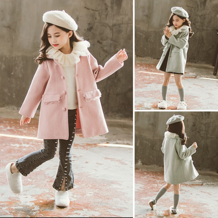 2019年新款韩版蕾丝呢子外套织里童装批发厂家直销微商代理加盟一件代发