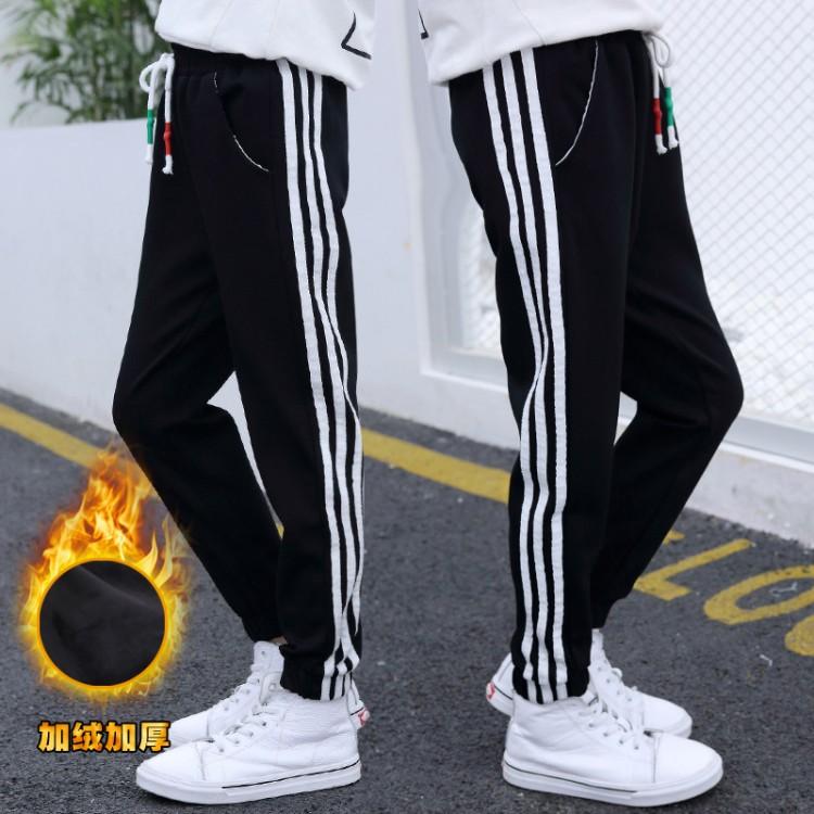 2019年新款韩版加绒加厚休闲拉条运动裤织里童装批发厂家直销微商代理加盟一件代发