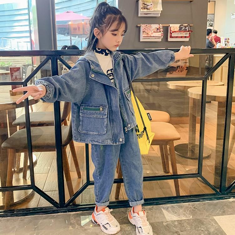 2019年新款韩版牛仔套装织里童装批发厂家直销微商代理加盟一件代发