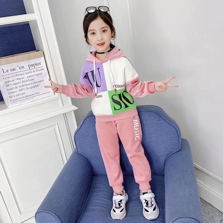 2019年新款韩版金丝绒拼色套装织里童装批发厂家直销微商代理加盟一件代发