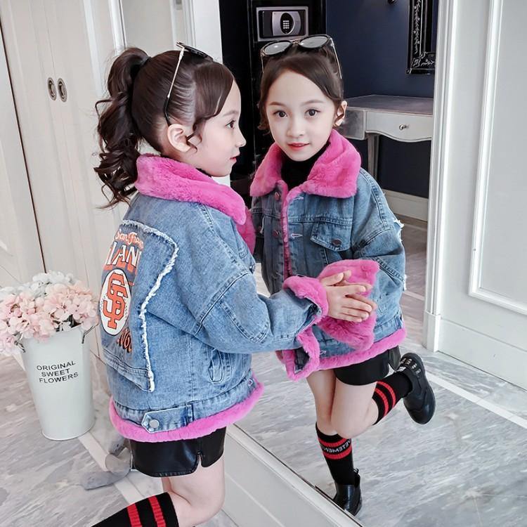 2019年新款韩版后背印花牛仔加毛外套里童装批发厂家直销微商代理加盟一件代发