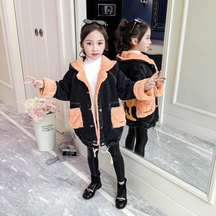 2019年新款韩版卡通牛仔中长款外套织里童装批发厂家直销微商代理加盟一件代发