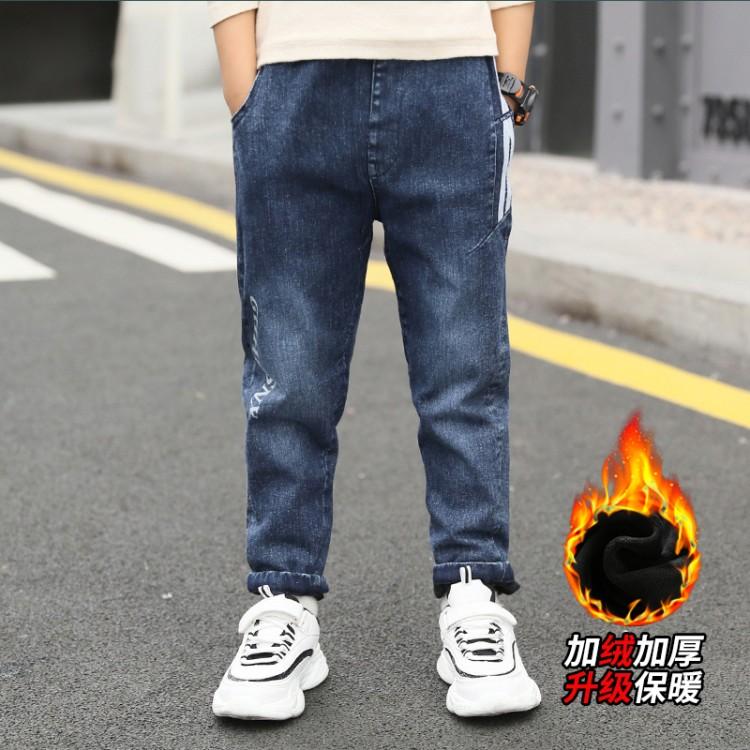 2019年新款韩版加绒加厚保暖牛仔长裤织里童装批发厂家直销微商代理加盟一件起批