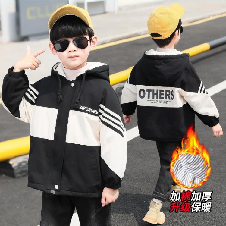 2019年新款韩版加绒加厚棉风衣织里童装批发厂家直销微商代理加盟一件起批