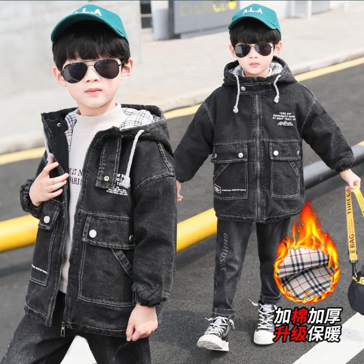 2019年新款韩版牛仔保暖外套织里童装批发厂家直销微商代理加盟一件起批