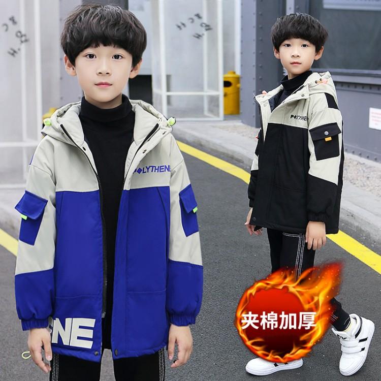 男童冬季棉衣韩版休闲修身1949拼接棉衣