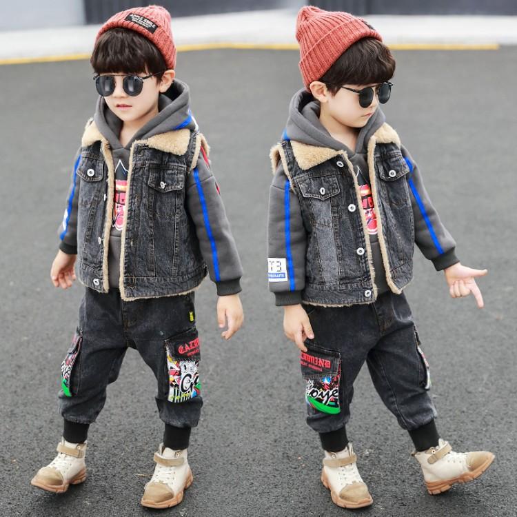 男童韩版加绒加厚牛仔卫衣3件套