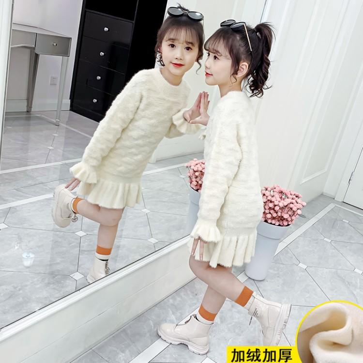 2019年新款韩版女童鱼尾毛衣裙织里童装批发厂家直销微商代理加盟一件代发