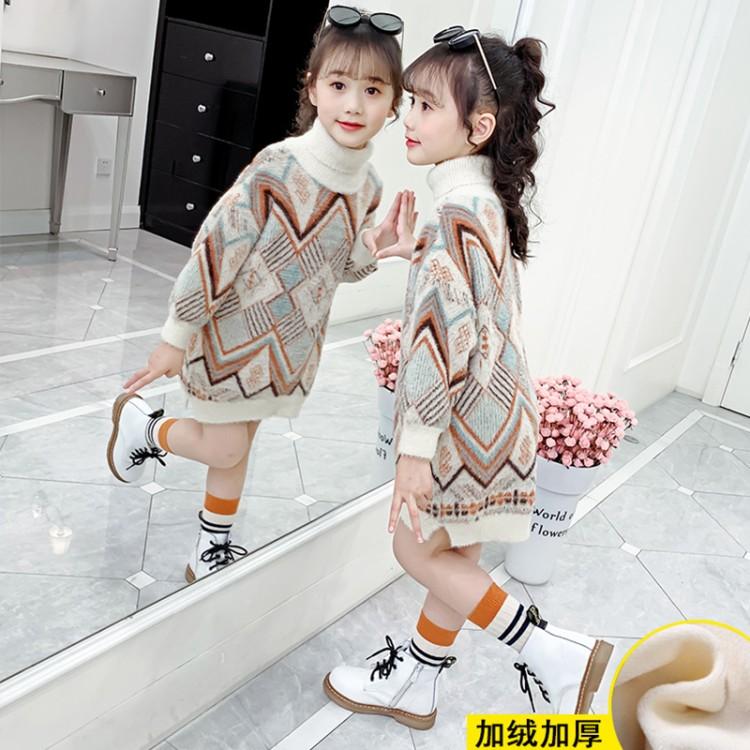 2019年新款韩版女童长款花纹毛衣织里童装批发厂家直销微商代理加盟一件代发