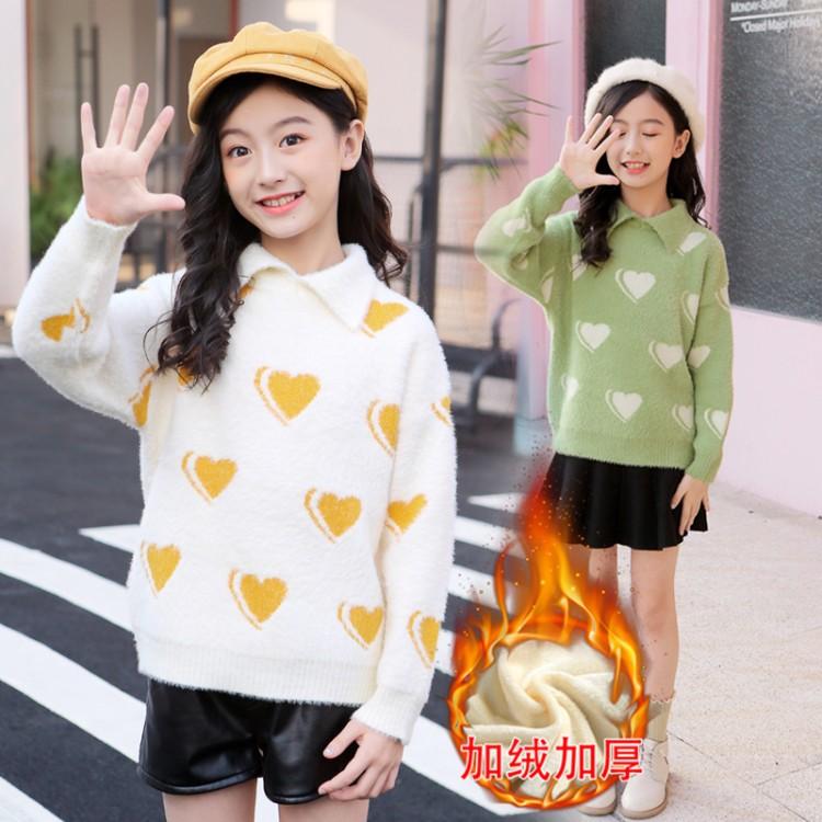 2019年新款韩版仿貂绒爱心绒衫织里童装批发厂家直销微商代理加盟一件代发