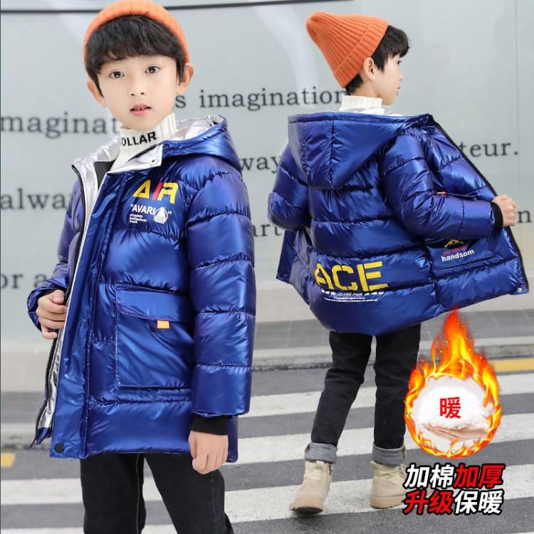 男童棉衣2019新款洋气冬装中大童长款加厚保暖棉服10岁棉袄外套潮