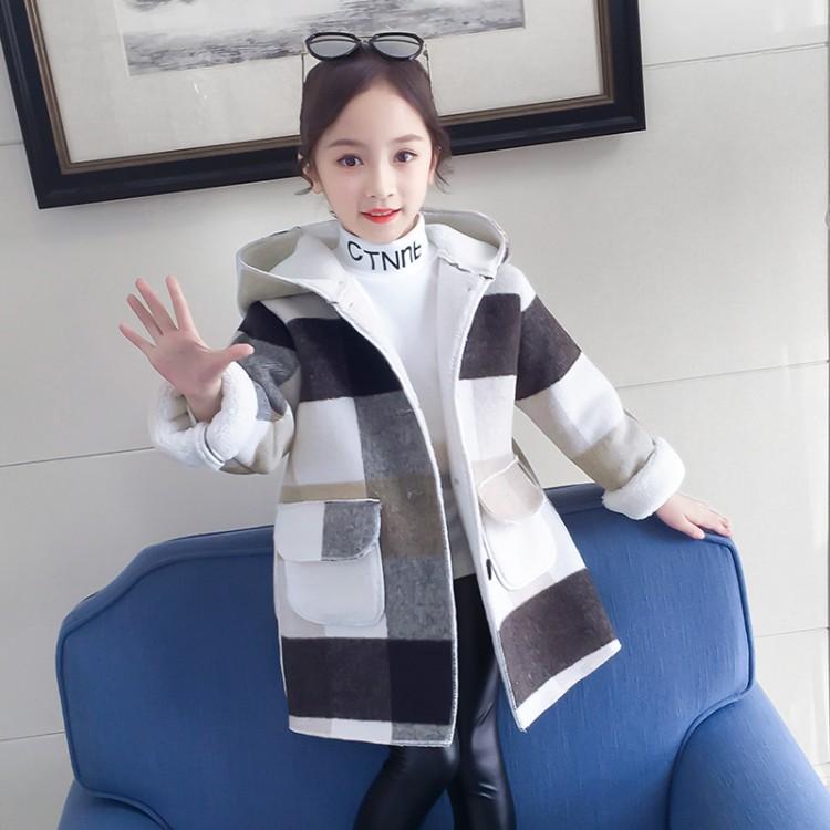 2019年新款韩版1922款女童格子毛呢大衣织里童装批发厂家直销微商代理加盟一件代发
