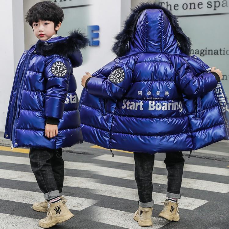 童装男童2019新款毛领加长男童洋气棉服C919亮皮加长棉衣