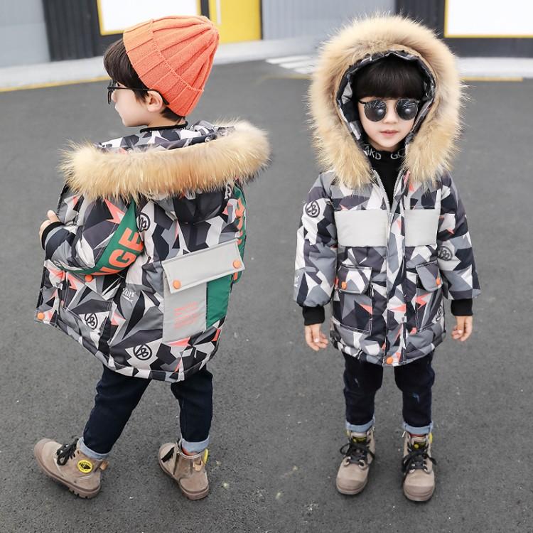 男童加厚中长款棉衣2019新款羽绒棉服儿童韩版冬装迷彩棉衣外套