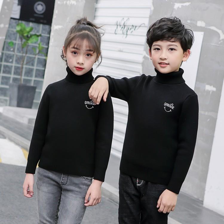 儿童毛衣男童女童秋冬款加绒加厚白色打底衫棉套头高领宝宝黑线衣