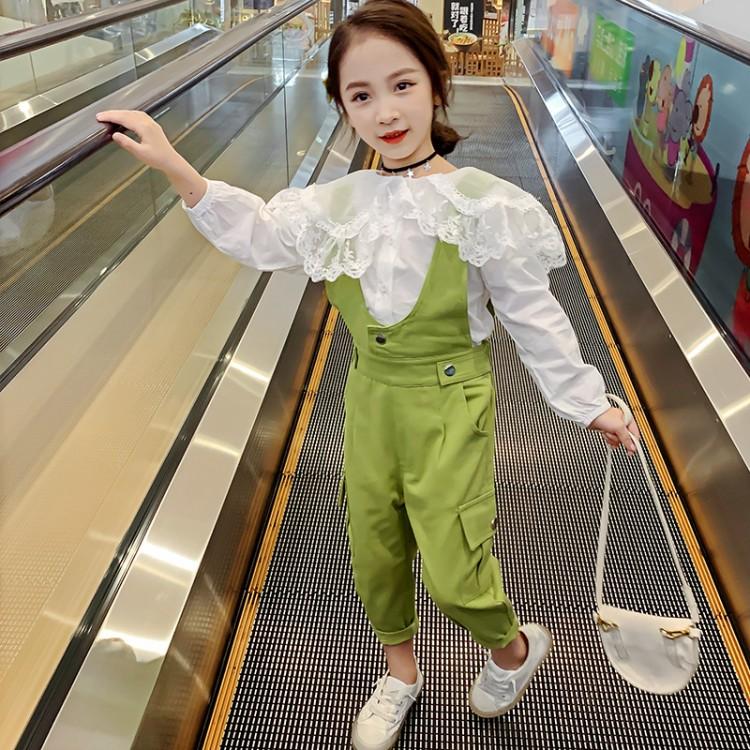 女童春季新款套装2020新款背带裤两件套
