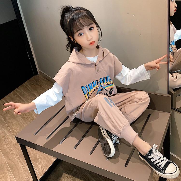 女童套装2020春秋季新款水洗棉休闲时尚三件套