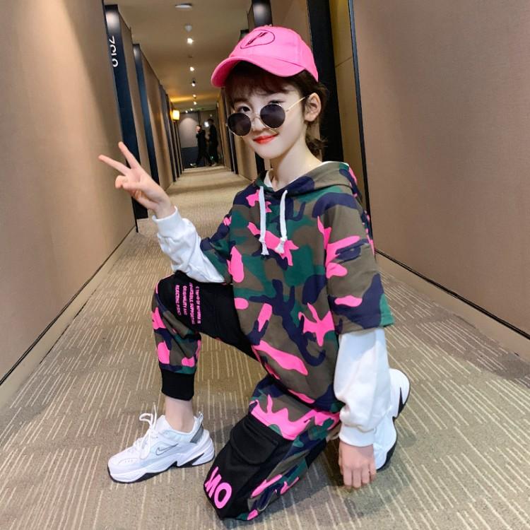 2020春装新款女童时尚迷彩卫衣套装