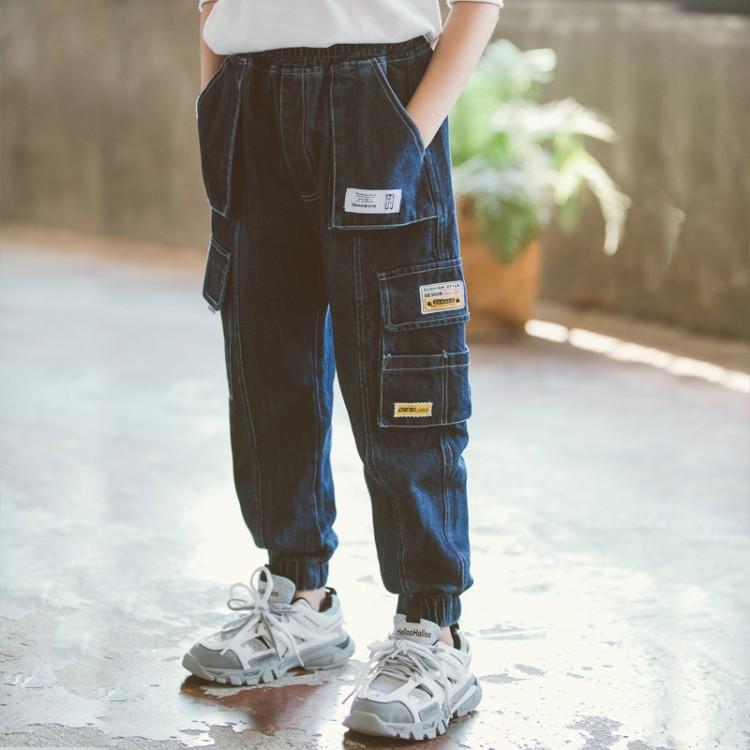 2020新款秋装儿童装韩版男童多袋牛仔工装裤中大童潮春秋洋气裤子