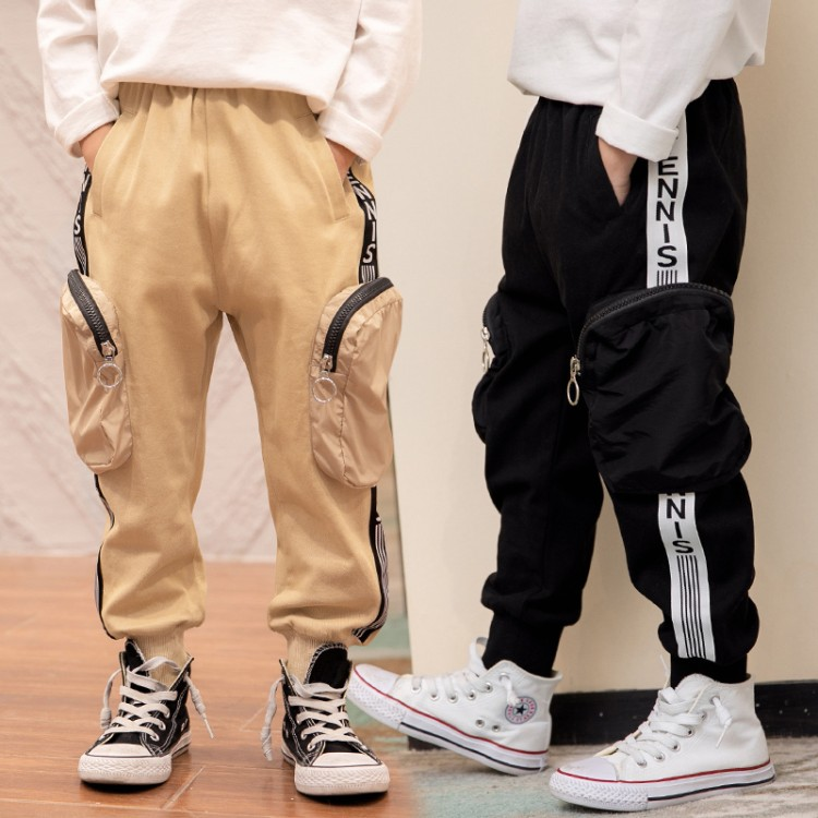 2020新款男童中大童工装立体包包休闲裤