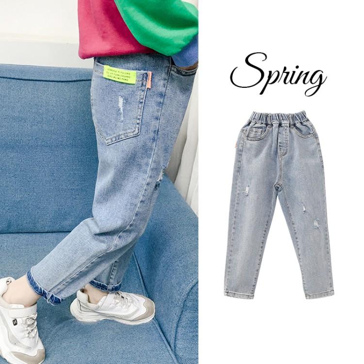 女童牛仔裤2020春季新款儿童中大童韩版洋气小女孩长裤子