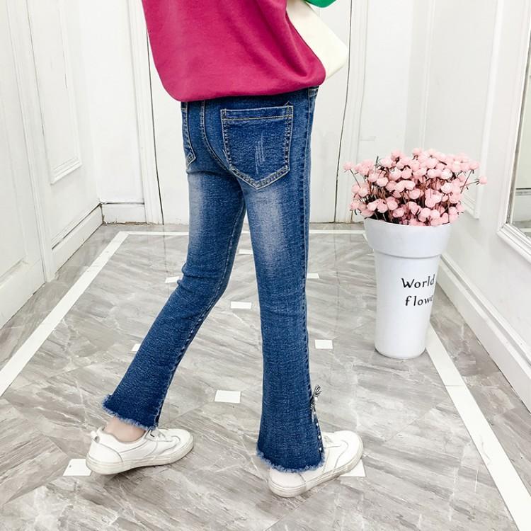 女童长裤春季中大童牛仔裤手工钉珠水洗喇叭裤