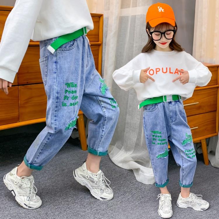 女童绿底布破洞裤