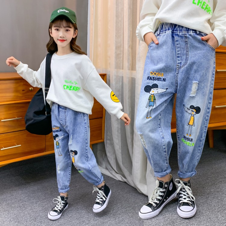 2020女童招财鼠印花牛仔裤