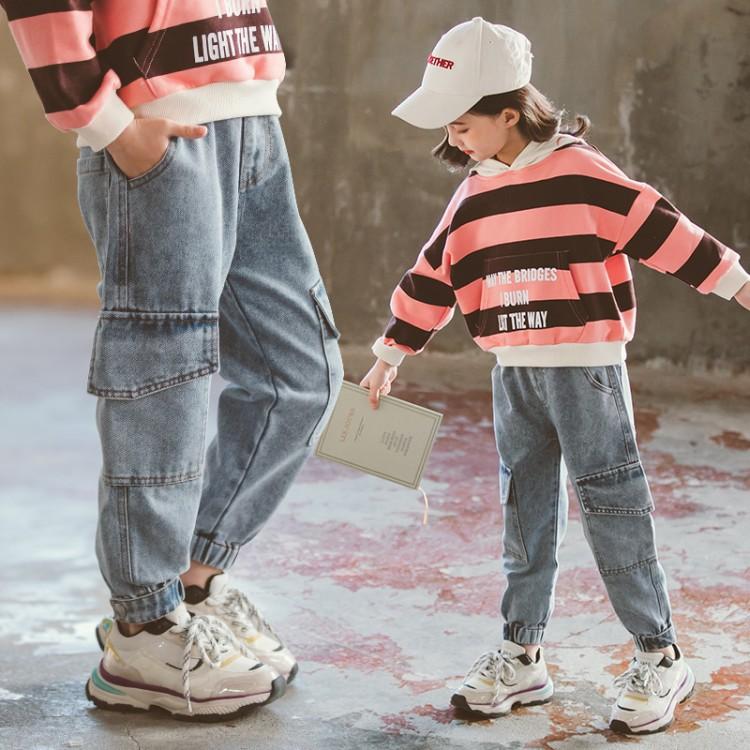 女童工装风大口袋休闲牛仔裤