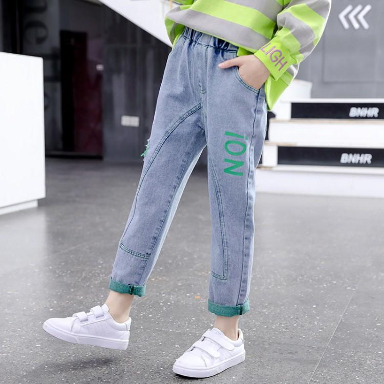 中大童彩布牛仔裤