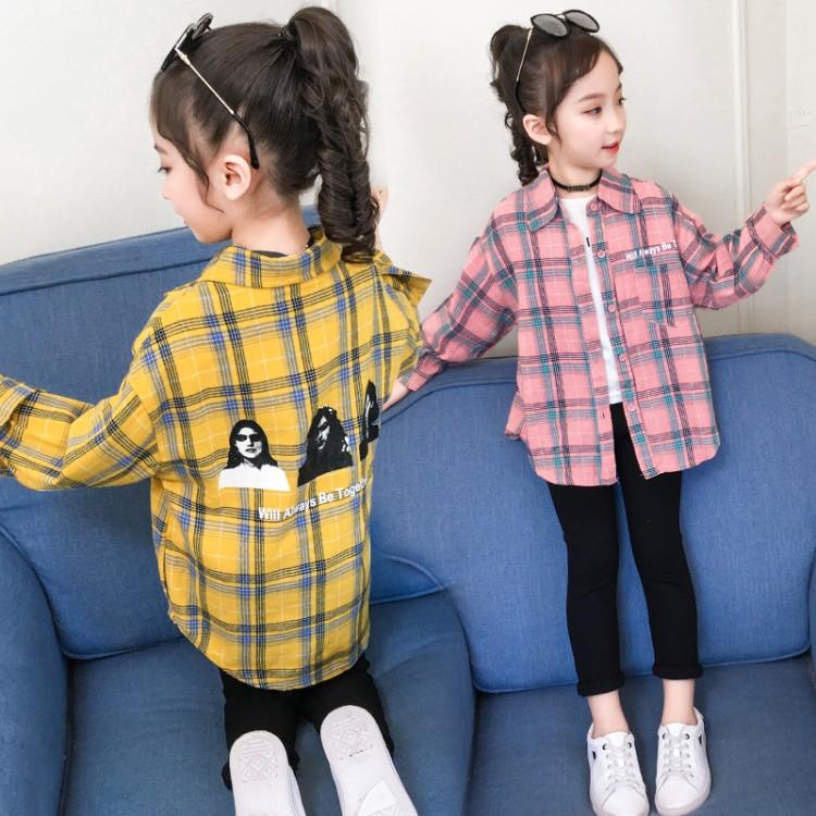 女童2020新款后背美女格子衬衫