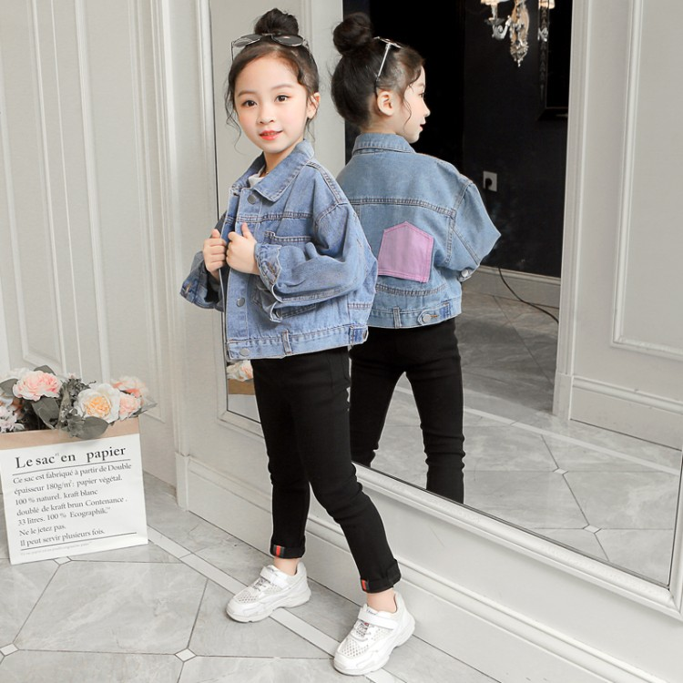2020新款女童中大童牛仔外套