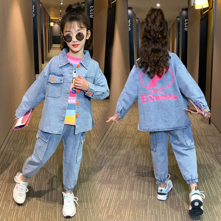 新款女童中大童牛仔套装