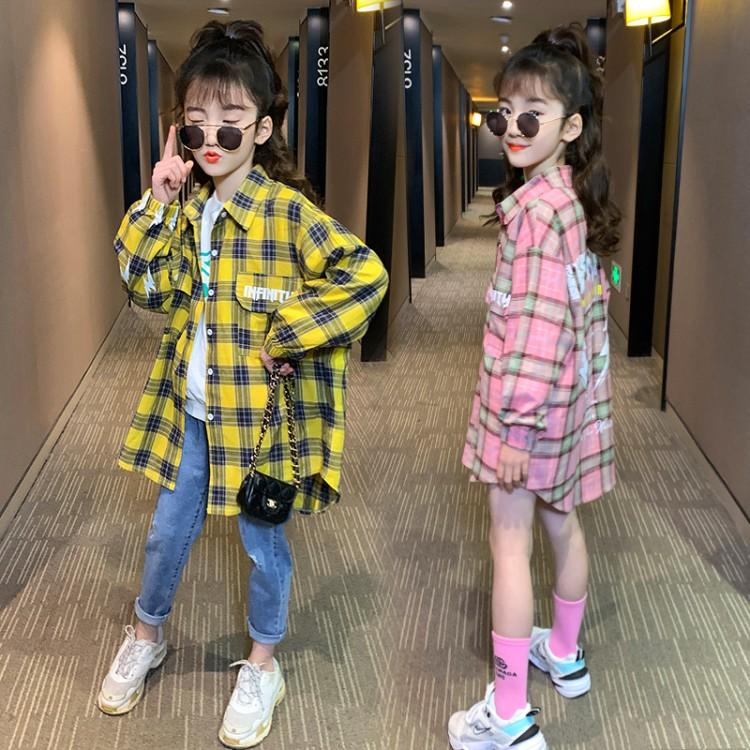 2020春装新款女童全棉中长款印花格子衬衫