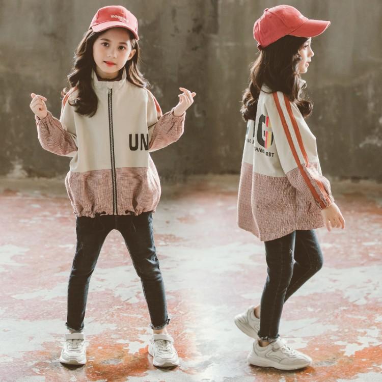 春款女童中大童拼色格子外套
