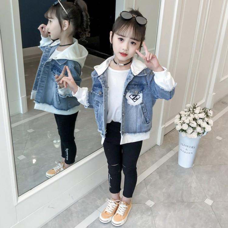 男女童牛仔外套女童拼接外套春秋新款儿童外套短款中大童开衫