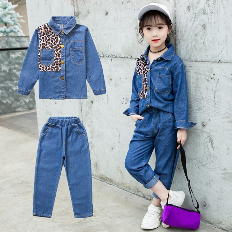 女童新款春季豹纹牛仔套装