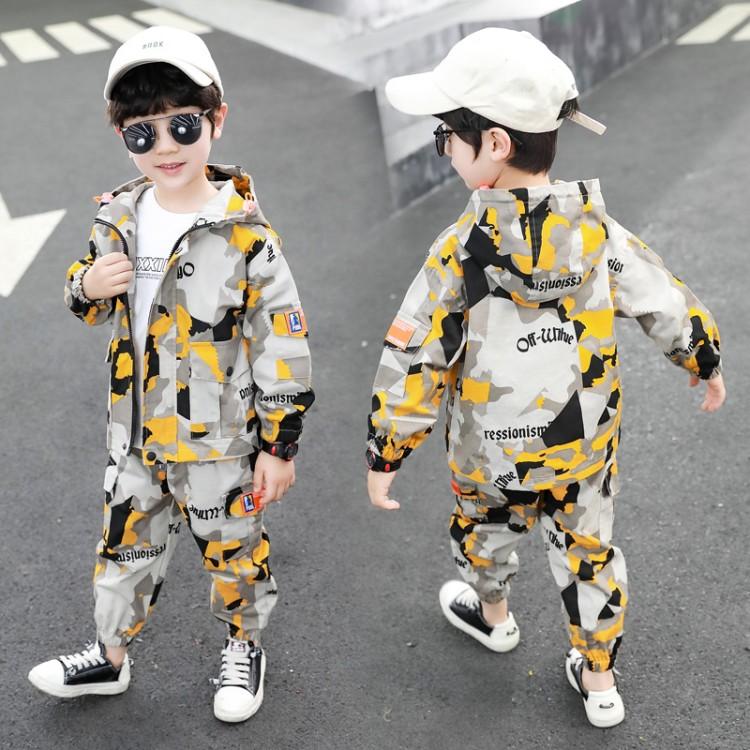 2020新款春装儿童迷彩帅气两件套