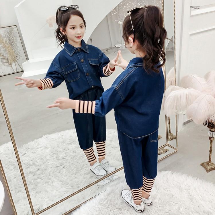2020春款女童螺纹袖牛仔套装