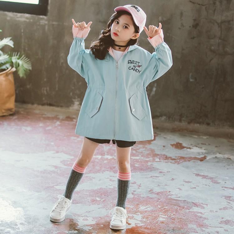 女童春秋款风衣2019新款韩版时尚中长款外套兔子风衣