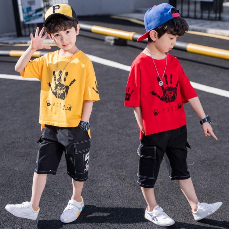 2020男童新款中大童潮流休闲手掌套装