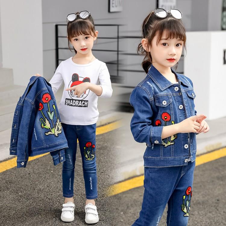2020新款韩版网红时尚儿童春秋休闲牛仔两件套超洋气