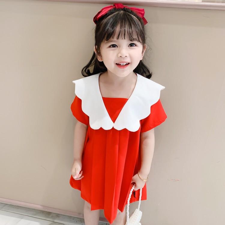 云朵刺绣小红裙 童装货源 直播拿货 到织里儿童网 一件批发代发