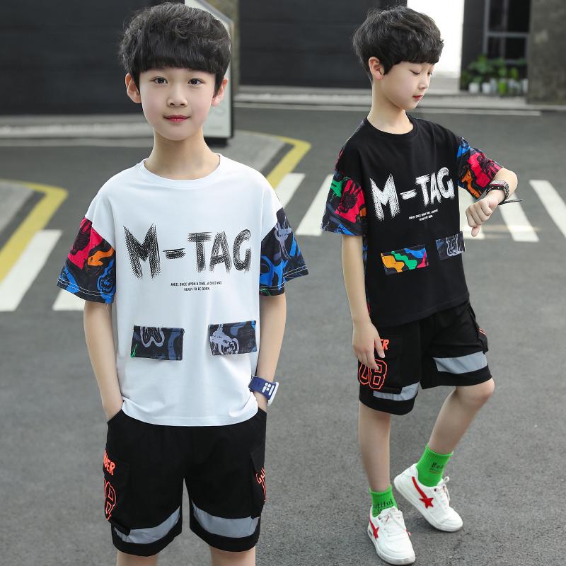 男童时尚印花套装织里童装批发货源一件代发