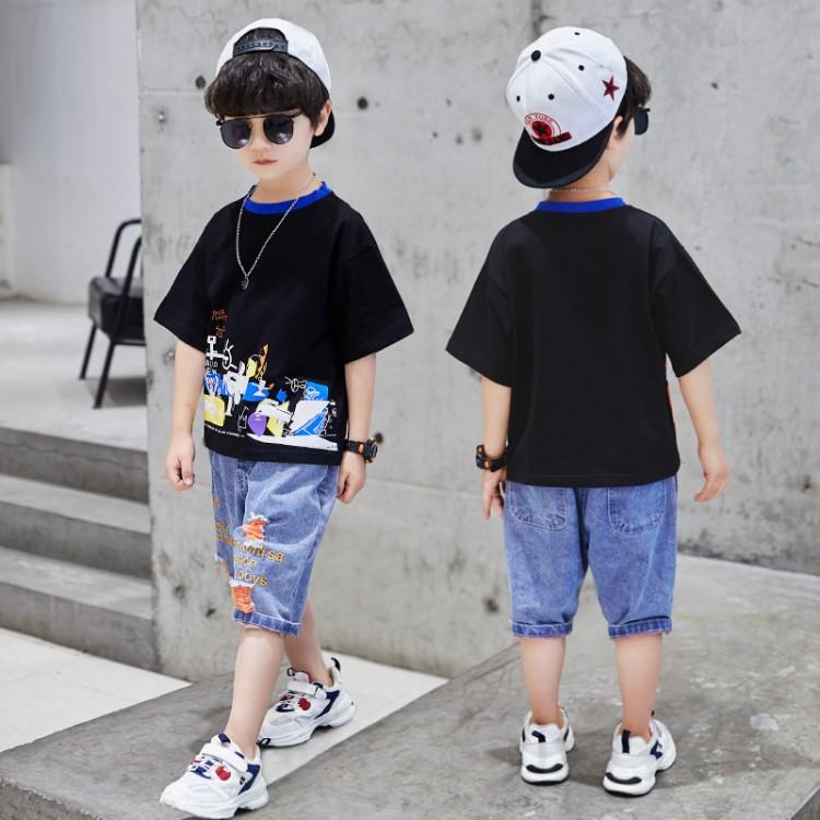 2020夏季男童新款彩领牛仔套装 童装批发厂家直销 直播带货 一件代发