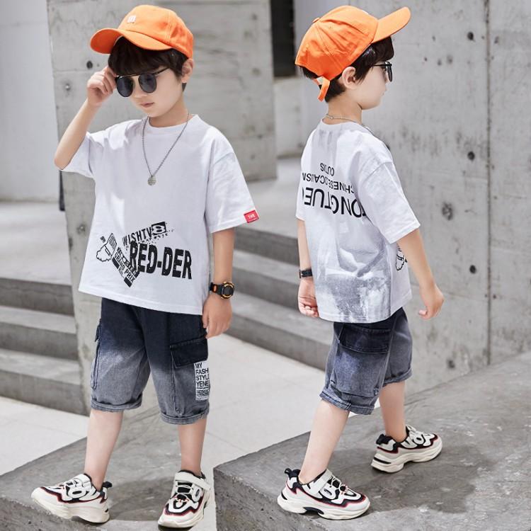 2020夏季男童新款渐变牛仔套装 织里童装 微商拿货 直播带货 一件代发